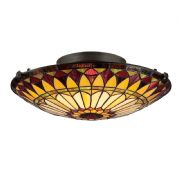 West End Flush Fitting in Vintage Bronze and Tiffany Glass - QUOIZEL QZ/WESTEND/F